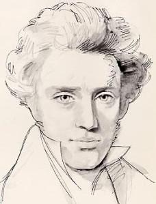 Soren Kierkegaard. (Immagine modificata da bibliotecafilosofia.it)