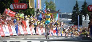 L'arrivo in salita di oggi, splendida vittoria di Vincenzo Nibali in maglia gialla (official photo from letour.fr website)