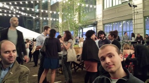 With Andrea (left), Benjamin (right) and Andrew (not in the pic) at Industry City Expo, May 10th, 2014. Great party upon invitation with many many free drinks and superb Italian pizzas!