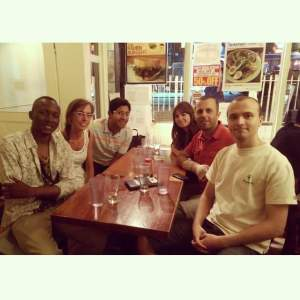 Dinner at Cafè Zen in St. Mark's place: one of our favourite sushi! With Kalib, Marti & I, Isabelle, Mehmet and Benjamin, summer 2014.